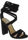 Steve Madden Sandales à talons hauts à lacets pour femmes en daim tissu noir