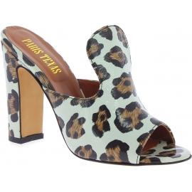Paris Texas Mules à talons pour femme en cuir léopard fabriquées en Italie
