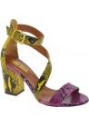 Paris Texas Sandales à talons pour femmes en cuir de python multicolore