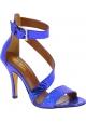 Paris Texas Sandales à talons bride à la cheville femme cuir de python bleu