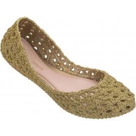 Melissa Chaussures ballerines pour femme à la mode en caoutchouc tissé dorées