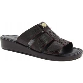 Dolce&Gabbana Chaussures sandales mode homme en cuir crocodile marron foncé