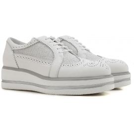Hogan Chaussures à lacets compensées pour femmes en cuir et tissu blanc
