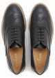 Hogan Chaussures richelieu à lacets pour femmes à bout rond en cuir noir