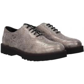Hogan Chaussures à lacets de mode pour femmes en cuir de veau laminé gris