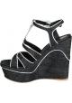 Sandales compensées Gianvito Rossi en tissu Jeans