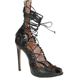 Sandales à talons hauts Alaïa en Cuir veau noir