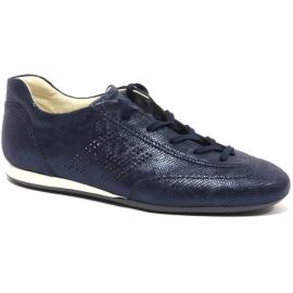 Hogan Baskets de mode à lacets pour femmes en cuir bleu effet mouillé