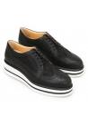 Hogan Chaussures compensées derby à lacets pour femmes en cuir et tissu noir