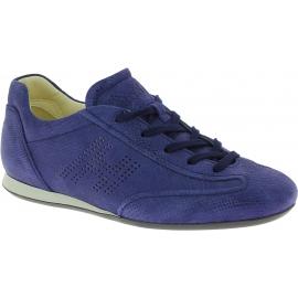 Hogan Baskets basses à lacets pour femmes à bout arrondi en daim bleu