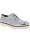 Hogan Chaussures à lacets de mode pour femmes en cuir de veau laminé argenté