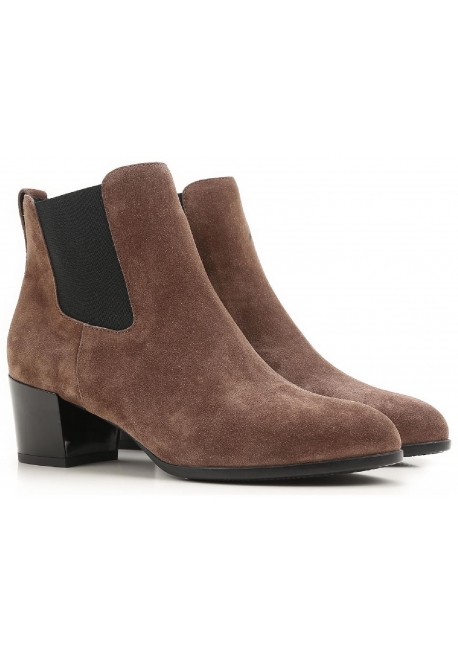 Bottines à talon Hogan en cuir retournée marron