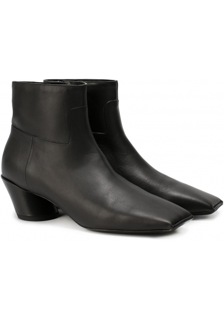 Bottines pointe carré Balenciaga en veritable cuir noir
