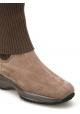 Bottes femme Hogan semelle interactive en daim et laine taupe
