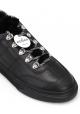 Sneakers femme Hogan fourrées en cuir noir et fausse fourrure