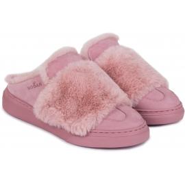 Chaussons d'hiver femme Hogan en cuir et fourrure rose