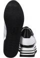 Hogan Baskets compensées hautes pour femme en cuir et tissu blanc à paillettes