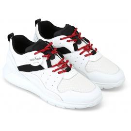 Hogan Baskets pour homme en cuir et tissu blanc avec détails noirs et lacets rouges