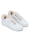 Hogan Baskets de mode pour femme à bout arrondi en cuir blanc avec fausse fourrure