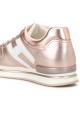Hogan Baskets de mode pour femme en cuir laminé rose métallisé avec logo blanc