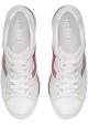 Hogan Baskets de mode à bout arrondi pour femme en cuir blanc et logo rose
