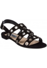 Sandales plates Prada femme en daim noir