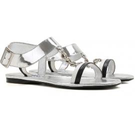 Sandales plates Prada femme en cuir lamé argent