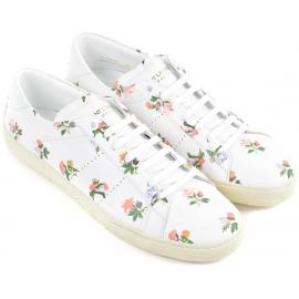 Sneakers Saint Laurent femme en cuir blanc motif floral