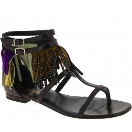 Sandales plates Saint Laurent en cuir noir et motifs