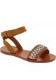 Sandales plates Miu Miu en cuir sable et cristaux
