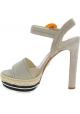 Sandales à talons hauts Prada en daim beige motif corde
