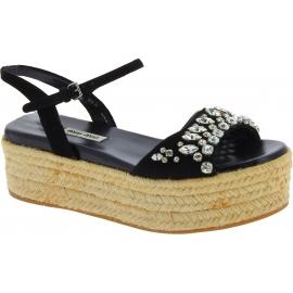 Sandales compensées Miu Miu en cuir noir et corde