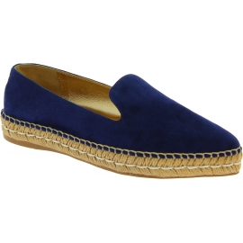 Espadrilles Prada femme en daim bleu et cuir or