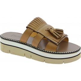 Sandales compensées Sartore en cuir beige et pampille
