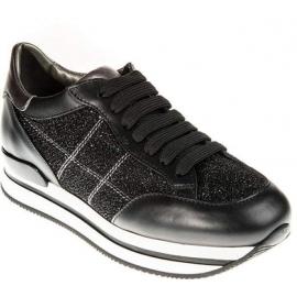 Hogan Baskets de mode avec compensées pour femme en cuir noir à paillettes