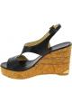 Jimmy Choo Sandales compensées à talons hauts pour femmes en cuir noir