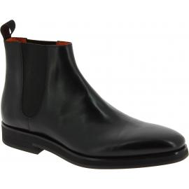 Santoni Bottines de mode pour homme en cuir noir avec bandes élastiques