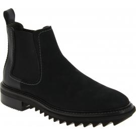 Lanvin Bottines de mode pour homme en cuir noir avec bandes élastiques