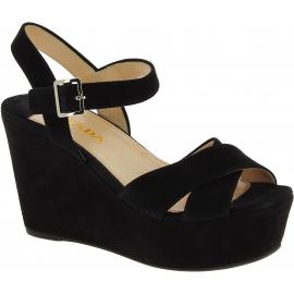 Prada Sandales compensées hautes pour femmes en daim noir boucle latérale
