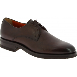 Santoni Chaussures oxford pour hommes à bout arrondi en cuir marron