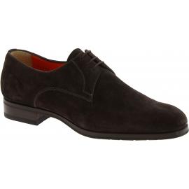 Santoni Chaussures brogues à lacets pour homme en cuir suédé marron