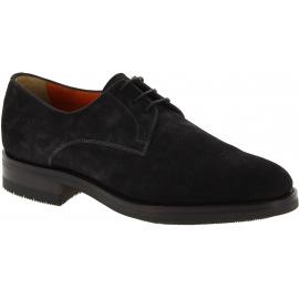 Santoni Chaussures richelieu à lacets pour homme en cuir suédé gris foncé
