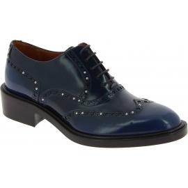 Sartore Chaussures richelieus à lacets pour femmes avec clous en cuir bleu