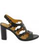 Sartore Sandales à talon haut carré pour femme en cuir noir avec boucle