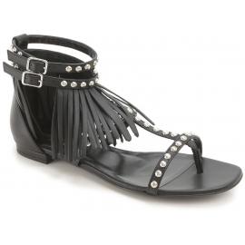 Saint Laurent Sandales plates mode femme avec clous et franges en cuir noir