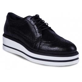 Hogan Chaussures à lacets pour femmes cuir de veau noir semelle haute en caoutchouc blanc