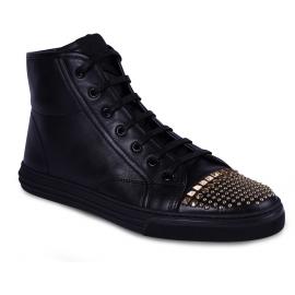 Gucci Baskets montantes de mode pour femme en cuir noir avec clous dorés
