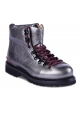 Buttero Cheville bottes pour femme en cuir gris métallisé avec lacets bordeaux