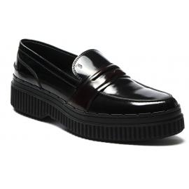 Tod's Mocassins pour femmes en cuir noir et bordeaux à semelle haute