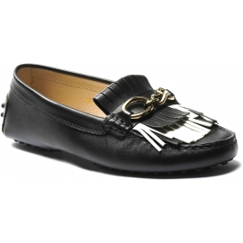 Tod's mocassins mors à enfiler pour femmes en cuir noir avec franges